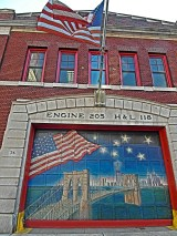 A Brooklyn fire station located just across the Brooklyn Bridge.